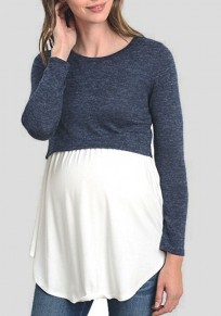 Blue Patchwork Irregular Round Neck Long Sleeve T-Shirt