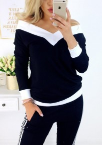 Black Off Shoulder V-neck Long Sleeve Slouchy Casual T-Shirt