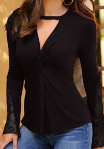Black Lace Cut Out Knot Deep V-neck Going out Casual T-Shirt