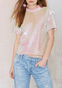 Pink Patchwork Sequin Glitter Round Neck Sweet Cute Going Out T-Shirt
