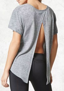 Grey Slit Round Neck Casual Going out T-Shirt