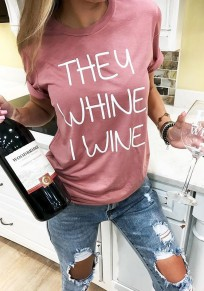 Pink Letter Print Round Neck Short Sleeve Fashion T-Shirt