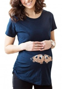 Navy Blue Floral Round Neck Short Sleeve Casual Maternity T-Shirt