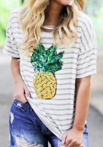 White Striped Pineapple Print Going out Casual T-Shirt