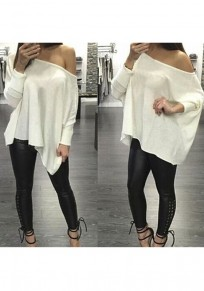 White Irregular Asymmetric Shoulder Long Sleeve Casual T-Shirt