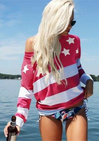 Red Patchwork Print Long Sleeve Casual T-Shirt