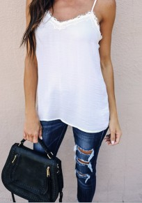 White Patchwork Lace Spaghetti Strap Backless V-neck Casual T-Shirt