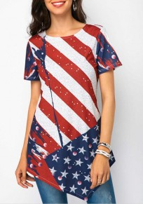 Blue American Flag Print Irregular Independence Day Round Neck Short Sleeve Casual T-Shirt
