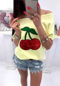 Yellow Patchwork Sequin Round Neck Short Sleeve Casual T-Shirt