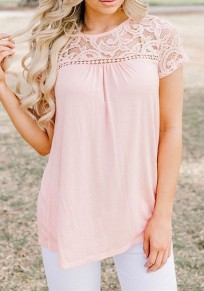 Pink Patchwork Lace Pleated Short Sleeve Round Neck Casual T-Shirt
