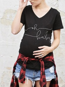"Black ""oh baby"" Print V-neck Maternity Cute Casual T-Shirt"