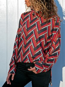 Red Patchwork Print High Neck Long Sleeve Casual T-Shirt