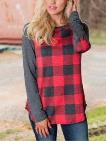 Red-Grey Plaid Roune Neck Long Sleeve Casual Christmas T-Shirt