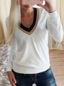 White V-neck Long Sleeve Fashion Casual T-Shirt