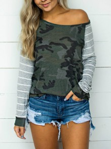 Green Camouflage Striped Print One Off Shoulder Long Sleeve Casual Camo T-Shirt