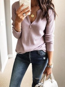 Pink Cut Out V-neck Long Sleeve Casual T-Shirt Sweater