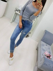 Grey Lace-Up Drawstring Round Neck Long Sleeve Casual T-Shirt