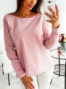 Pink Cross Back Long Sleeve Round Neck Sweet Going out T-Shirt