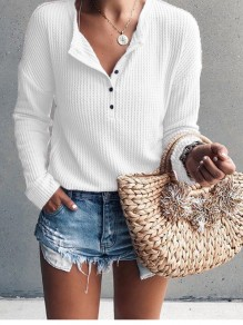 White Single Breasted V-neck Long Sleeve Casual T-Shirt
