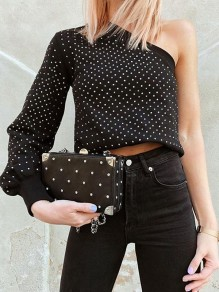 Black Polka Dot Print Asymmetric Shoulder Long Sleeve Streetwear T-Shirt