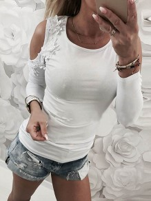 White Cut Out Lace Round Neck Fashion T-Shirt