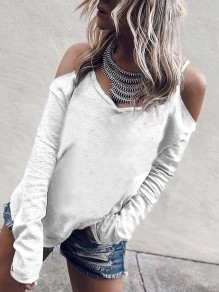 White Condole Belt Cut Out V-neck Long Sleeve Fashion T-Shirt