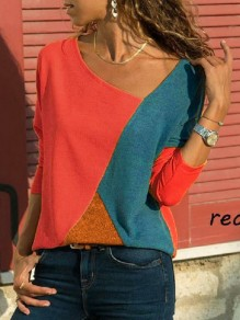 Red Patchwork Print Long Sleeve Fashion T-Shirt
