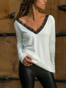 White Patchwork Backless Lace V-neck Long Sleeve Fashion T-Shirt