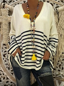 Black White Striped Print V-neck Long Sleeve Oversize T-Shirt