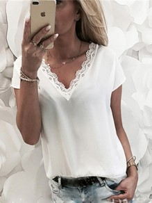 White Patchwork Lace V-neck Short Sleeve Going out T-Shirt