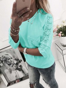 Green Patchwork Lace Pockets One-shoulder Round Neck 3/4 Sleeve Fashion T-Shirt