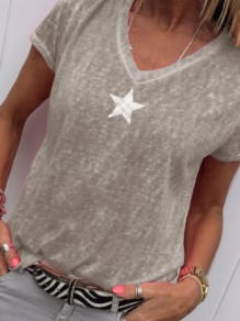 Grey Galaxy Print V-neck Short Sleeve Fashion T-Shirt