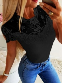 Black Patchwork Lace Round Neck Short Sleeve Going out T-Shirt