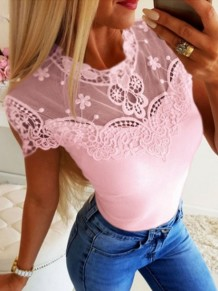 Pink Patchwork Lace Round Neck Short Sleeve Going out T-Shirt