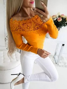 Yellow Patchwork Lace Boat Neck Fashion T-Shirt