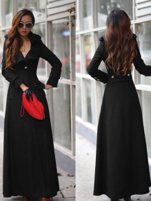 Black Full Length Turn Down Collar Military Extra Long Wool Trench Coat