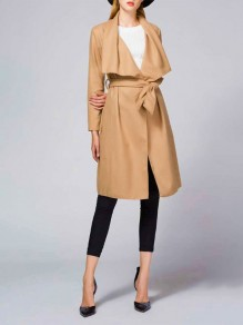 Khaki Pockets Sashes Turndown Collar Long Sleeve Casual Trench Coat