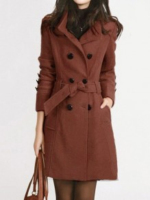 Khaki Belt Pockets Buttons Double Breasted Turndown Collar Long Sleeve Plus Size Retro Coat