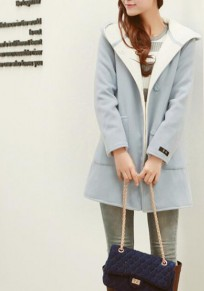 Sky Blue Buttons Pockets Suede Hoodie Long Coat