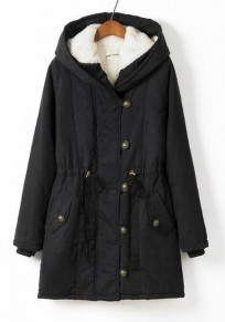 Black Drawstring Buttons Casual Thick Hooded Coat