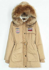 Khaki Pockets Drawstring Zipper Faux Fur Hooded Casual Winter Warm Parka Coat
