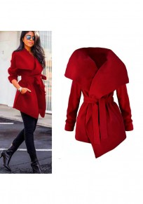 Red Plain Belt Irregular Turndown Collar No Button Fashion Coat