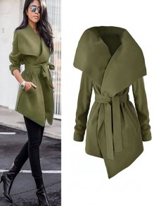 Green Plain Belt Irregular Turndown Collar No Button Fashion Coat