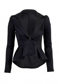 Black Buttons Ruffle Peplum Long Sleeve Fashion Suits