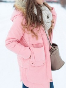 Pink Monogram Pockets Buttons Hooded Casual Coat