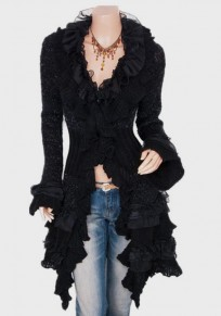 Black Lace Ruffle V-neck Single Breasted Long Sleeve Cardigan Coat