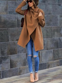 Khaki Plain Pockets Turndown Collar Going out Casual Coat
