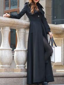 Black Buttons Full Length Turndown Collar Military Long Wool Trench Coat