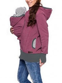 Purple Pockets Zipper Hooded Long Sleeve Casual Coat