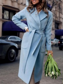 Light Blue Pockets Belt No Buttons Turndown Collar Formal Elegant Casual Long Wool Coat